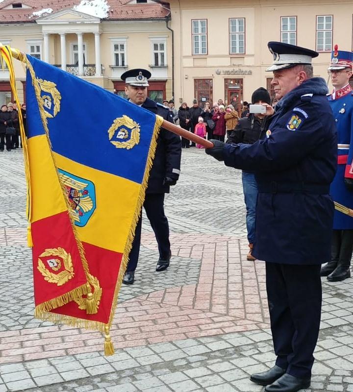 Moment de maxima solemnitate: Jandarmeria Sibiu a primit Noul Drapel de Luptă